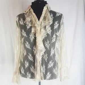 Cato sheer ruffle lace top